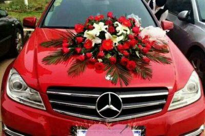 红色奔驰C200婚车 孝感八一车队红色奔驰