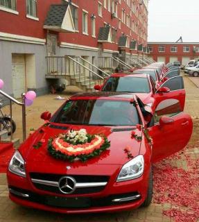 孝感红色奔驰婚车 红色奔驰花车